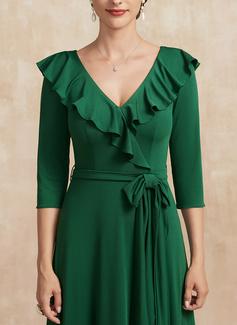 Трапеция V-образный асимметричный Jersey Платье Для Матери Невесты с Бант(ы) Ниспадающие оборки