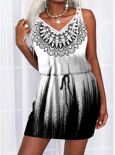 Print Gradient Sheath Sleeveless Mini Casual Type Dresses