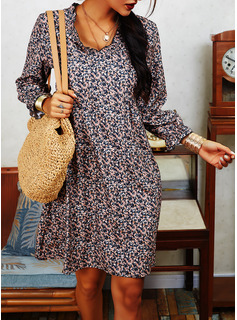 Print Shift 3/4 Sleeves Midi Casual Tunic Dresses