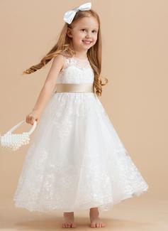 Aライン/プリンセスライン2 くるぶし丈 フラワーガールのドレス - サテン/チュール/レース 袖なし スクープネック とともに サッシュ/弓