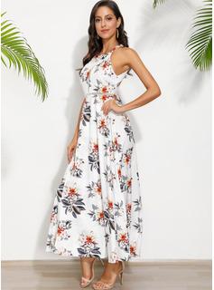 Maksimum Halterneck Polyester Print Uden Ærmer Mode kjoler
