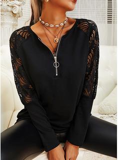 Blonder Solid V-hals Lange ærmer Elegant Skjorter