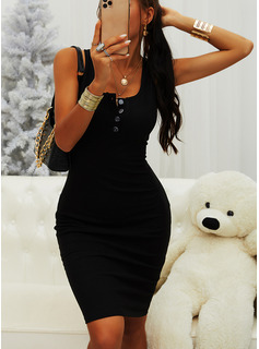 Solid Bodycon Sleeveless Midi Little Black Casual Vacation Tank Dresses