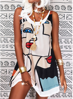 Impresión Vestidos sueltos Sin mangas Midi Casual Franelilla Vestidos de moda