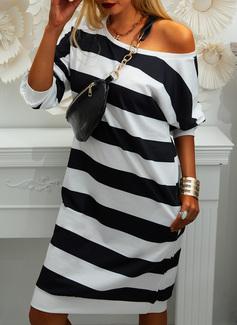 Striped Sheath Long Sleeves Midi Casual Sweatshirt Dresses