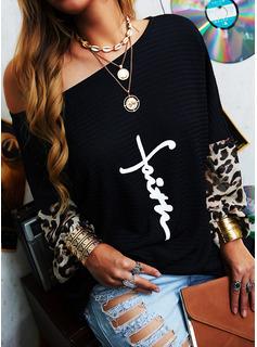 Leopard Print One-Shoulder Lange ærmer Casual Skjorter