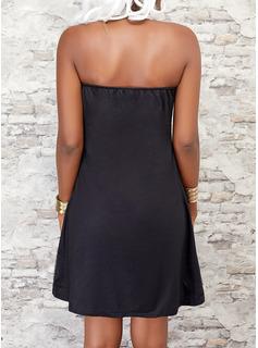 Print Letter Shift Sleeveless Mini Casual Dresses