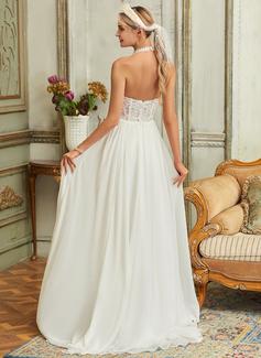 A-Line Halter Sweep Train Chiffon Lace Wedding Dress