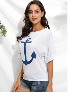 Drucken 1/2 Ärmel Polyester Schulterfrei T-shirt Blusen