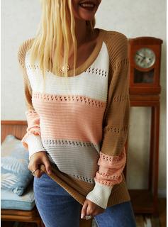 Rundhalsausschnitt Lässige Kleidung Farbblock Pullover
