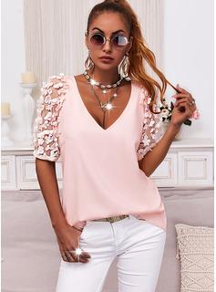 Floral Solid V-Neck Short Sleeves Elegant Blouses
