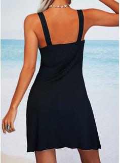 Sólido Cubierta Sin mangas Mini Pequeños Negros Casual Vacaciones Franelilla Vestidos de moda