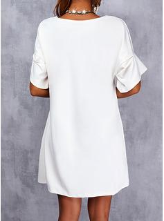 Sólido Vestidos sueltos Manga Corta Mini Casual camiseta Vestidos de moda