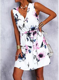 Floral Impresión Cubierta Sin mangas Mini Casual Vacaciones Vestidos de moda