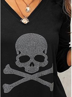 Paljetter V-ringning Långa ärmar Fritids t-shirt