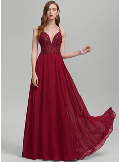 A-Line V-neck Floor-Length Chiffon Prom Dresses With Sequins
