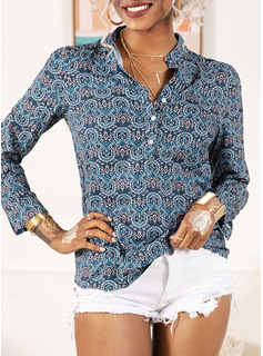 Print Long Sleeves Polyester V Neck Blouses