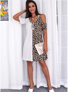 Leopardo Trozos de color Impresión Vestidos sueltos Manga Corta Midi Casual Túnica Vestidos de moda