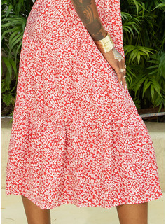 Midi Round Neck Polyester Print Short Sleeves/Puff Sleeves Fashion Dresses