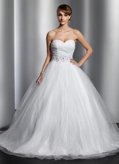 Balklänning Älskling Chapel släp Tyll Bröllopsklänning med Rufsar Beading Paljetter