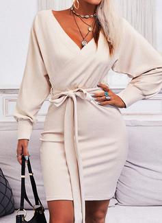固体 ボディコンドレス 長袖 ミニ リトルブラックドレス カジュアル ファッションドレス