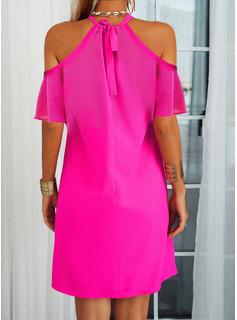 Sólido Vestidos sueltos Mangas 1/2 Mini Casual Vestidos de moda