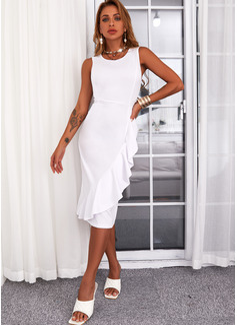 Sólido Cubierta Sin mangas Midi Casual Vestidos de moda
