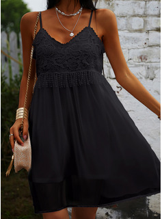 Lace Solid Shift Sleeveless Mini Little Black Casual Sexy Vacation Type Dresses