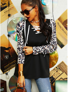 Leopard Patchwork Hoodie Long Sleeves Casual Blouses