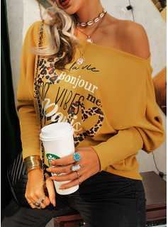 Leopard Figure Print Heart One Shoulder Long Sleeves Casual Blouses