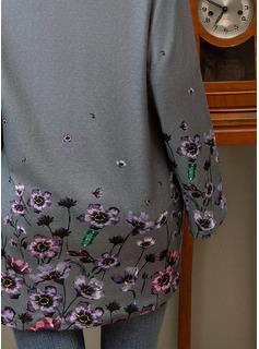 Blommig Print V-ringning Långa ärmar Fritids t-shirt