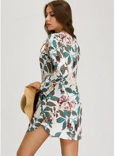 フローラル 印刷 シフトドレス 長袖 ミディ カジュアル チュニック ファッションドレス