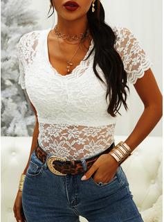 Lace Solid V-Neck Short Sleeves Casual Elegant Blouses