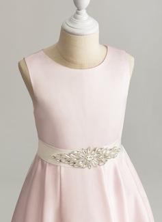 Linia A Asymetryczny Sukienka dla Dziewczynki Sypiącej Kwiaty - Satyna Bez Rękawów Okrągły/ głęboko wycięty Z Zdobiony koralikami (Zdejmowany pasek boczny)
