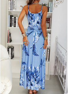 Blommig Print Shiftklänningar Ärmlös Maxi Boho Fritids Semester Typ Modeklänningar