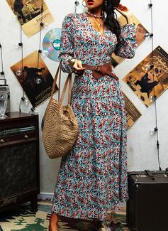 Impresión Cubierta Manga Larga Maxi Boho Casual Vestidos de moda
