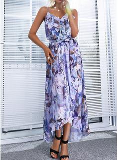 Floral Impresión Vestido línea A Asimétrico Sin mangas Casual Patinador Tipo Vestidos de moda