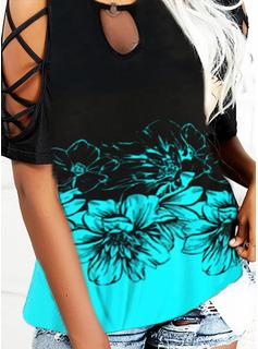 Trozos de color Floral Impresión Top Con Hombros Manga Corta Casual Blusas