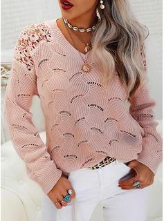 V-hals Casual Blonder Solid Trøjer