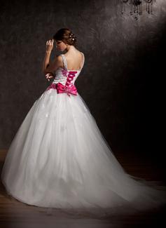 Robe Marquise Amoureux Traîne mi-longue Tulle Robe de mariée avec Plissé Motifs appliqués Dentelle À ruban(s)