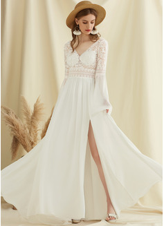 Corte A Escote en V Barrer/Cepillo tren Gasa Encaje Vestido de novia con Apertura frontal