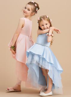 Ball-Gown/Princess Asymmetrical Flower Girl Dress - Satin/Tulle Sleeveless Scoop Neck With Rhinestone