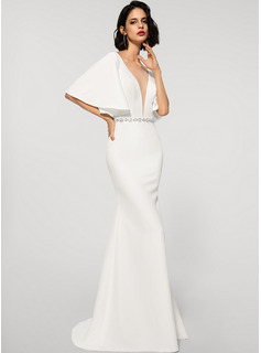 Trumpet/Mermaid V-neck Sweep Train Stretch Crepe Wedding Dress With Beading