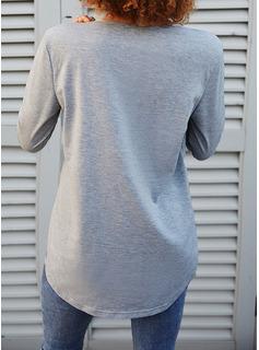 Paillettes Scollatura a V Maniche lunghe Casuale Camicie