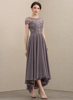 Corte A Decote redondo Assimétrico Tecido de seda Renda Vestido para a mãe da noiva com Beading lantejoulas