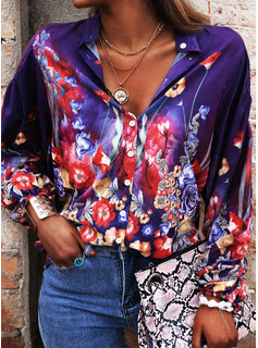 Floral Print V-Neck 3/4 Sleeves Button Up Casual Shirt Blouses