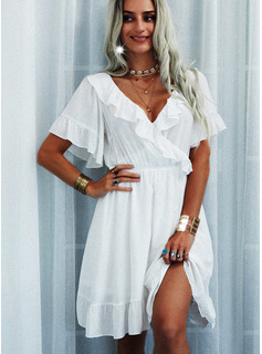 Solid A-line Flare Sleeve Short Sleeves Mini Casual Skater Wrap Dresses