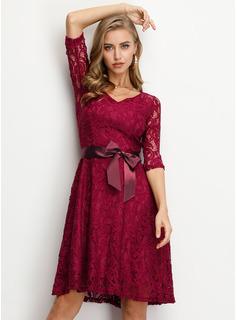 Blonder Solid Kjole med A-linje 3/4 ærmer Midi Vintage Elegant Mode kjoler