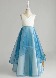 A-Line Floor-length Flower Girl Dress - Tulle Sleeveless V-neck With Ruffles