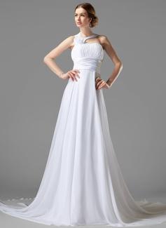 Empire One-Shoulder Court Train Chiffon Wedding Dress With Ruffle Flower(s)
